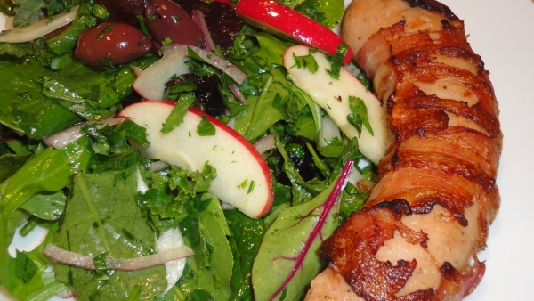 Recipe #3 | Bacon Wrapped Chicken Sausage With Apple Kale ...