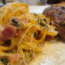Recipe #73 | Yellow Zucchini Spaghetti With Bacon And Goat Cheese